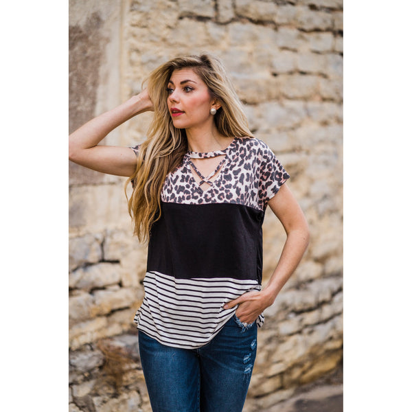 Leopard Color Block Criss Cross Top-Four Sisters Boutique