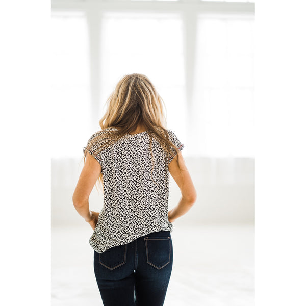 Leopard Embroidered Sleeve Top-Four Sisters Boutique