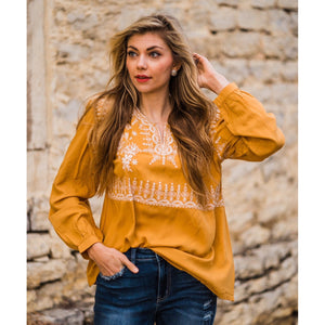 Marigold Embroidered Top-Four Sisters Boutique