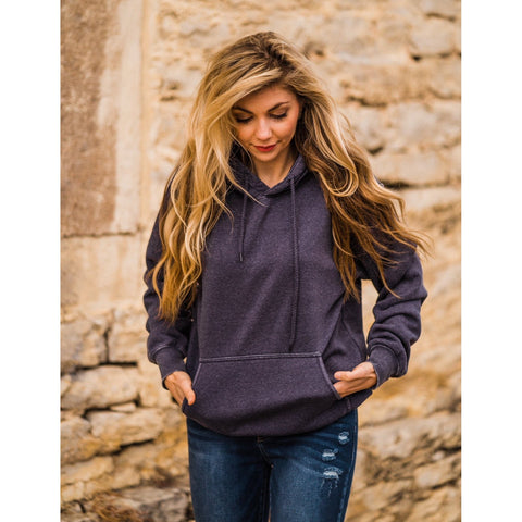 Deep Blue Burn Out Hoodie-Four Sisters Boutique
