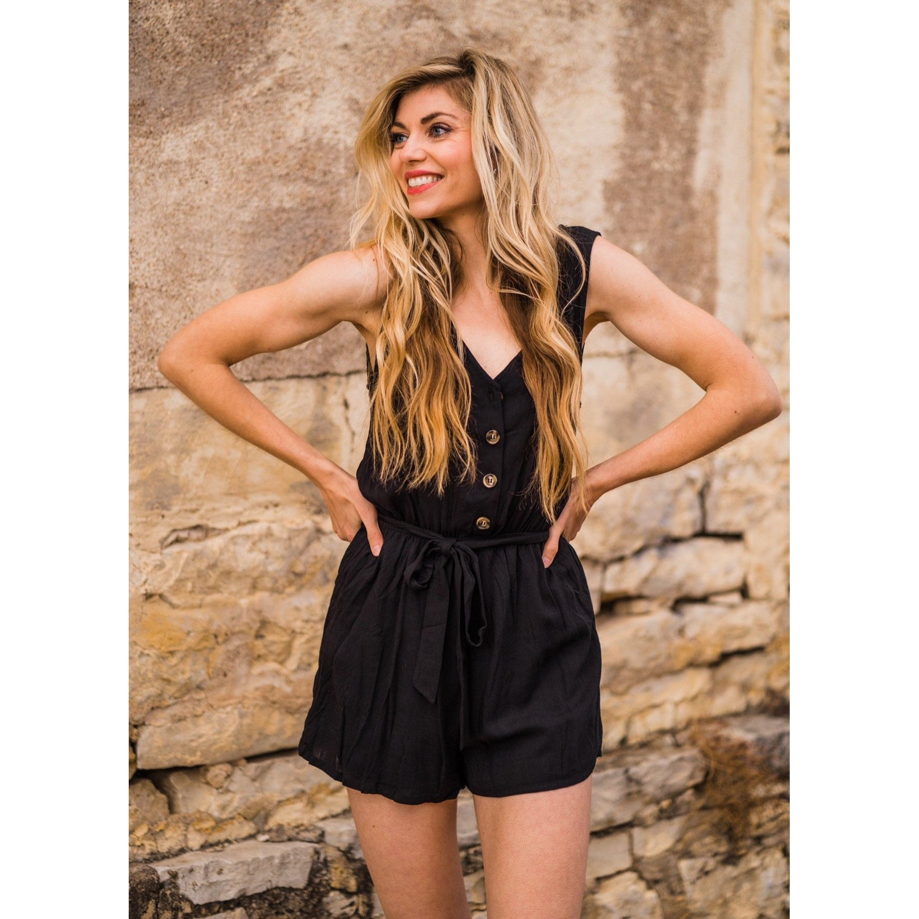 Black Button Down Romper-Four Sisters Boutique