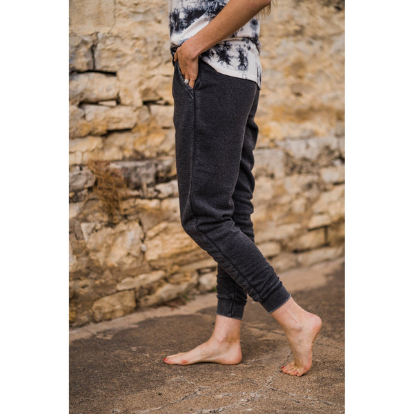 Charcoal Burn Out Joggers-Four Sisters Boutique