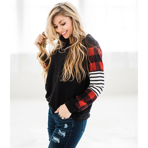 Buffalo Plaid and Stripe Top-Four Sisters Boutique