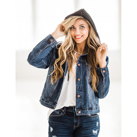 Hooded Denim Jacket-Four Sisters Boutique