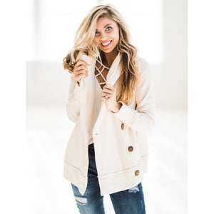 Side Button Hooded Jacket-Four Sisters Boutique