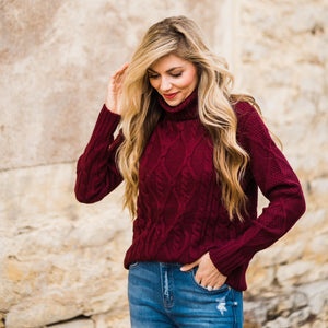 Burgundy Cable Knit Sweater-Four Sisters Boutique