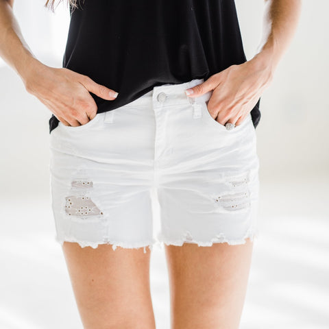 White Lace Patch Destroyed Judy Blue Shorts-Four Sisters Boutique