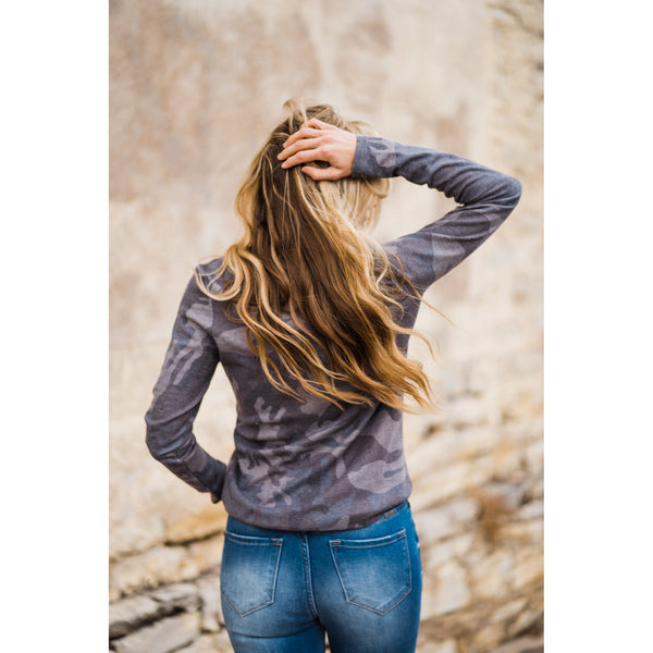 Camo Henley Top-Four Sisters Boutique