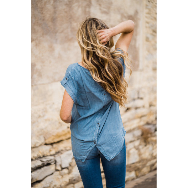 Chambray Button Back Top-Four Sisters Boutique
