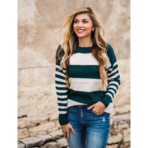 Deep Green Striped Sweater-Four Sisters Boutique