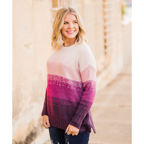 Ombre Plum Sweater-Four Sisters Boutique