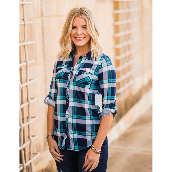 Navy and Teal Plaid Button Down Top-Four Sisters Boutique
