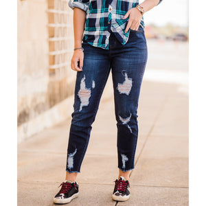Denim Skinny Destructed Joggers-Four Sisters Boutique