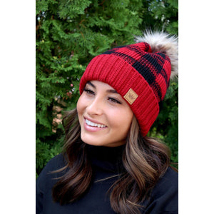 Red and Black Buffalo Plaid Beanie with Pom Accent-Four Sisters Boutique