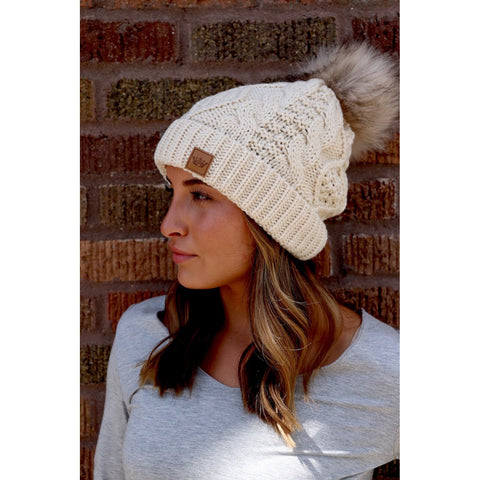 Cream Cable Knit Beanie with Pom Accent-Four Sisters Boutique