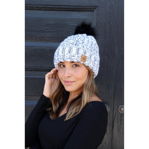 White and Black Beanie with Pom Accent-Four Sisters Boutique