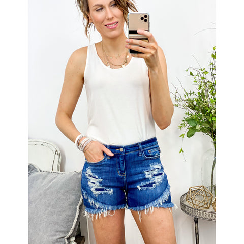 Tulip Hem Judy Blue Shorts-Four Sisters Boutique
