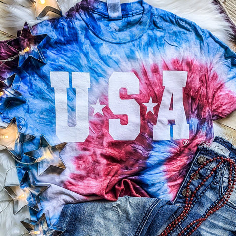 USA Tie Dye Tee-Four Sisters Boutique