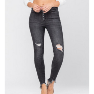 Judy Blue Destructed Black Button Fly Jeans-Four Sisters Boutique