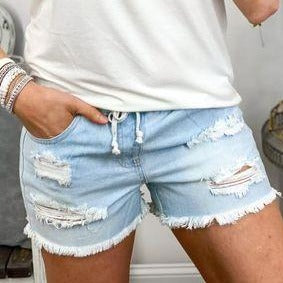 Jogger Shorts - Light Wash-Four Sisters Boutique