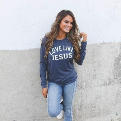 Love Like Jesus Tee in Navy-Four Sisters Boutique