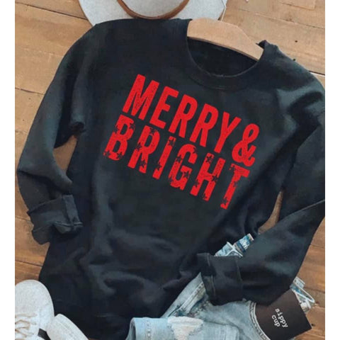 Merry & Bright Sweatshirt-Four Sisters Boutique