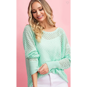 Mint Eyelet Sweater-Four Sisters Boutique