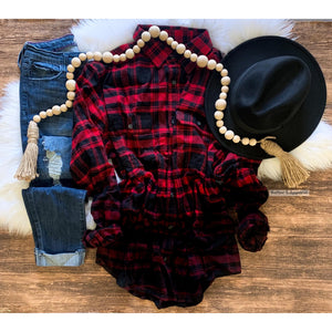 Dip Dyed Red and Black Plaid-Four Sisters Boutique