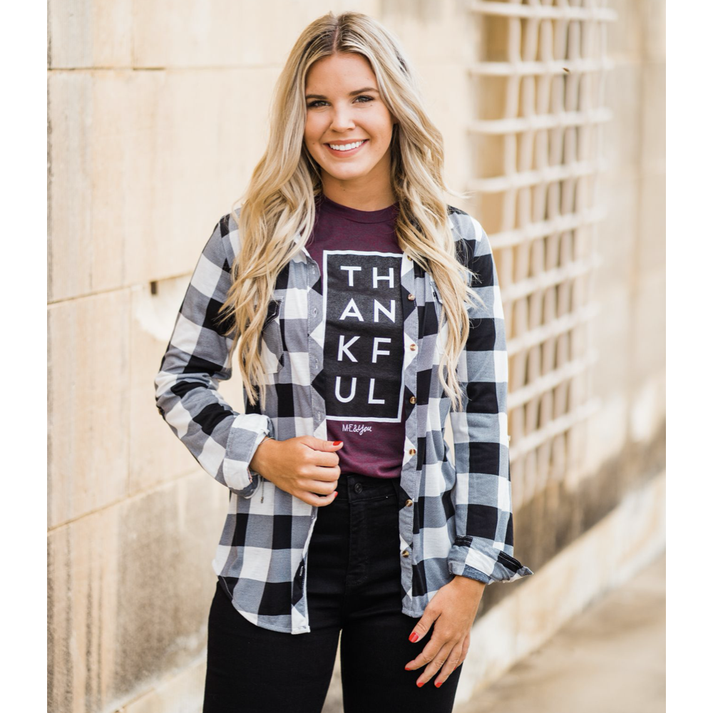 Black and Ivory Plaid Button Down Top-Four Sisters Boutique