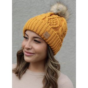Mustard Cable Knit Beanie with Pom Accent-Four Sisters Boutique
