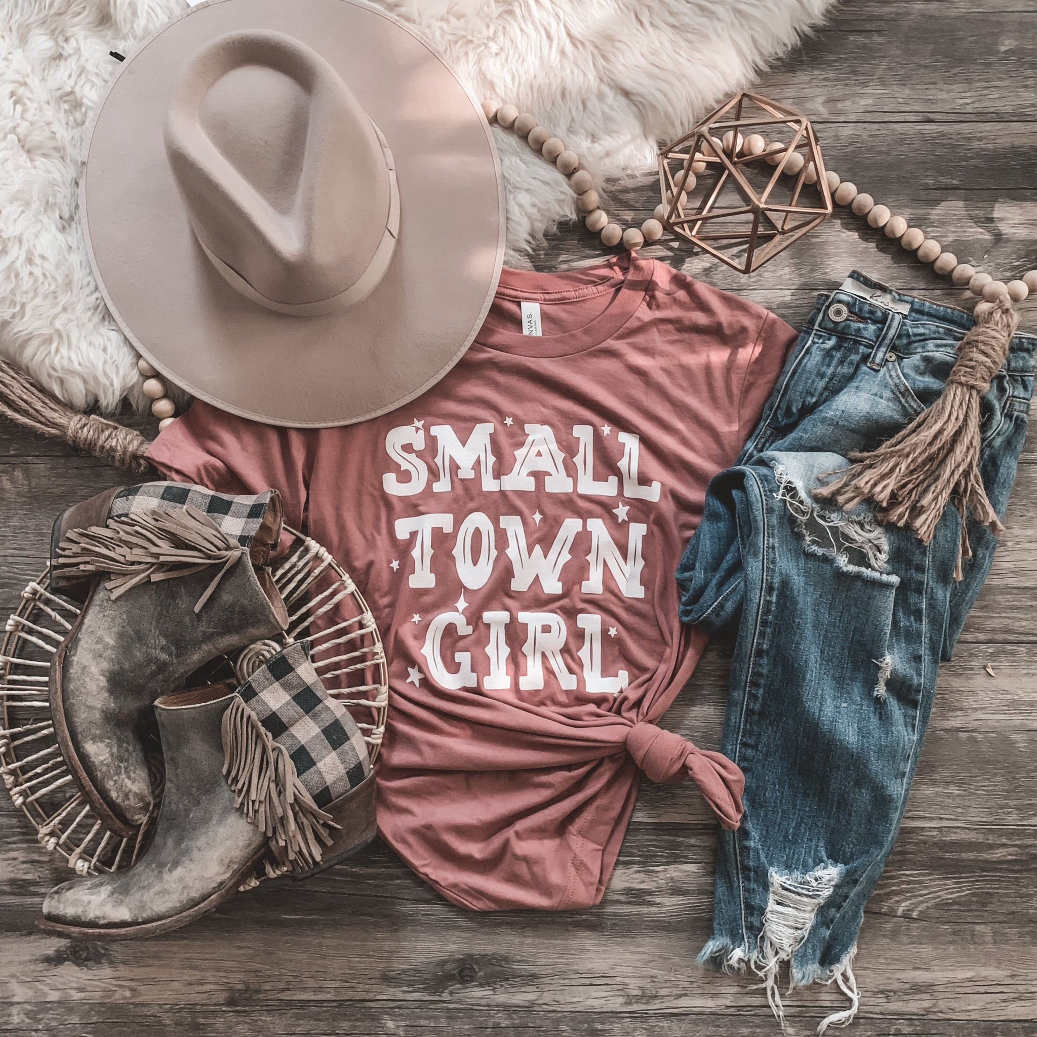 Small Town Girl Tee in Mauve-Four Sisters Boutique