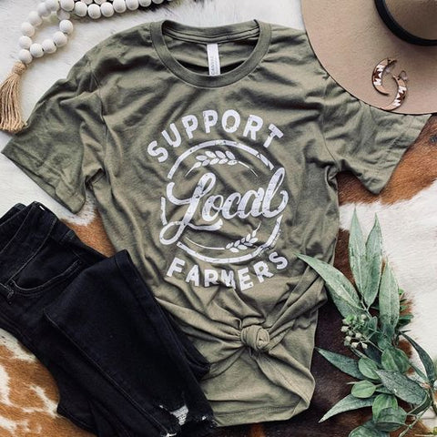 Support Local Farmers Tee in Olive-Four Sisters Boutique