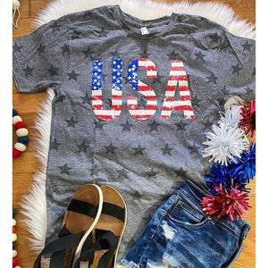 USA Flag Star Tee ***PREORDER***-Four Sisters Boutique