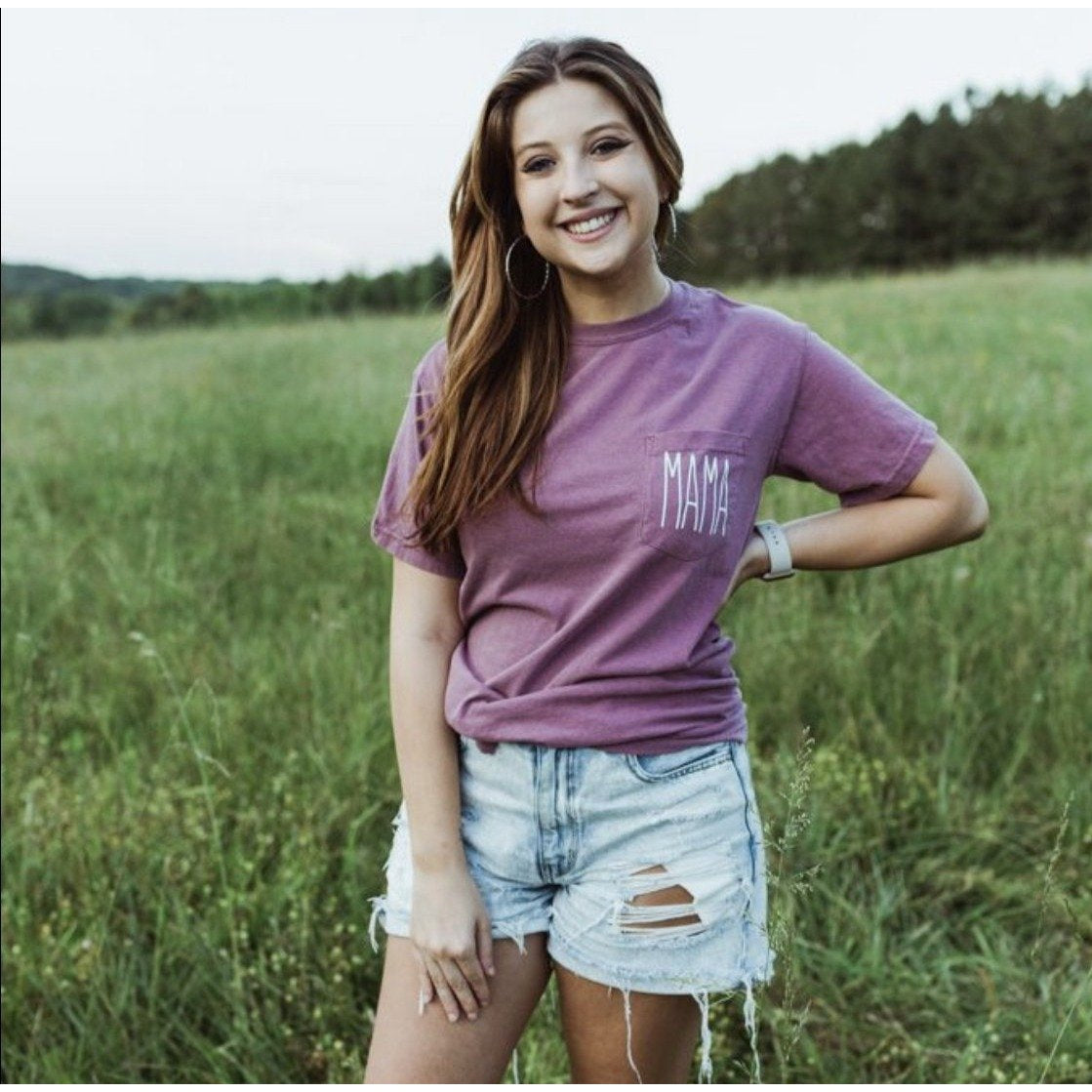 Mama Pocket Tee in Berry-Four Sisters Boutique