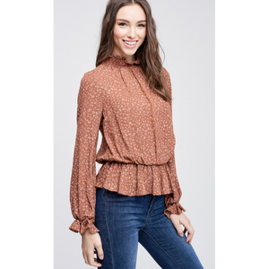 Cheetah Mock Neck Top-Four Sisters Boutique