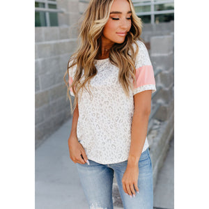 Ampersand Avenue - Leopard and Pink Track Tee-Four Sisters Boutique