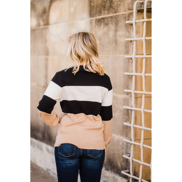 All About the Neutrals Color Block Sweater-Four Sisters Boutique