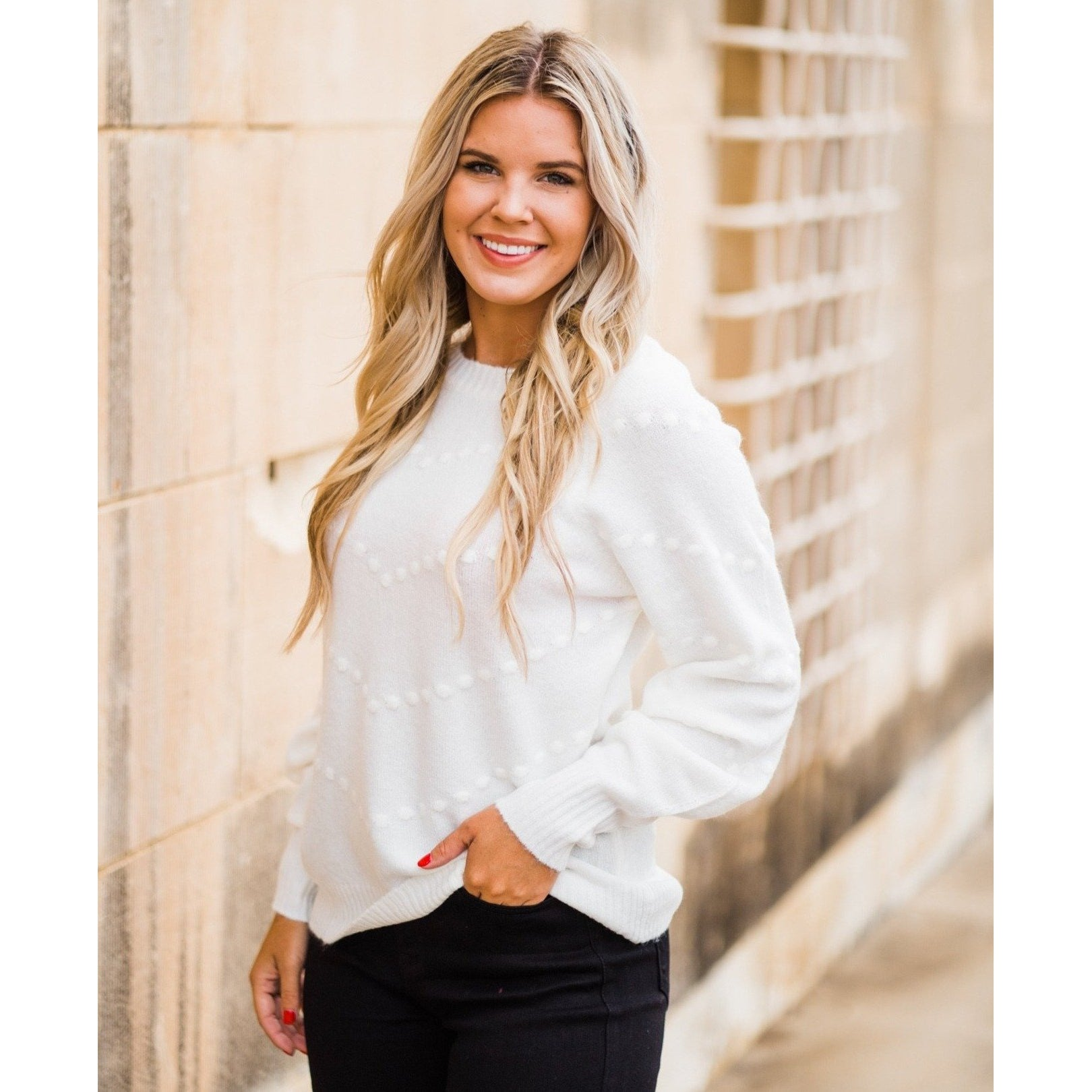 Ivory Pom Pom Sweater-Four Sisters Boutique
