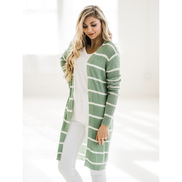 Sage and White Stripe Cardigan-Four Sisters Boutique