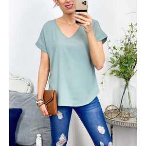 Simpler Times Top in Sage-Four Sisters Boutique