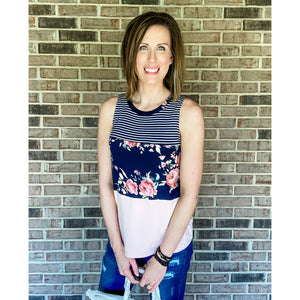 Navy Floral Colorblock Tank-Four Sisters Boutique