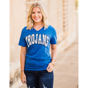 Trojans Puff Paint Tee-Four Sisters Boutique