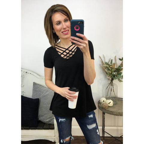 Lattice Front Top in Black-Four Sisters Boutique