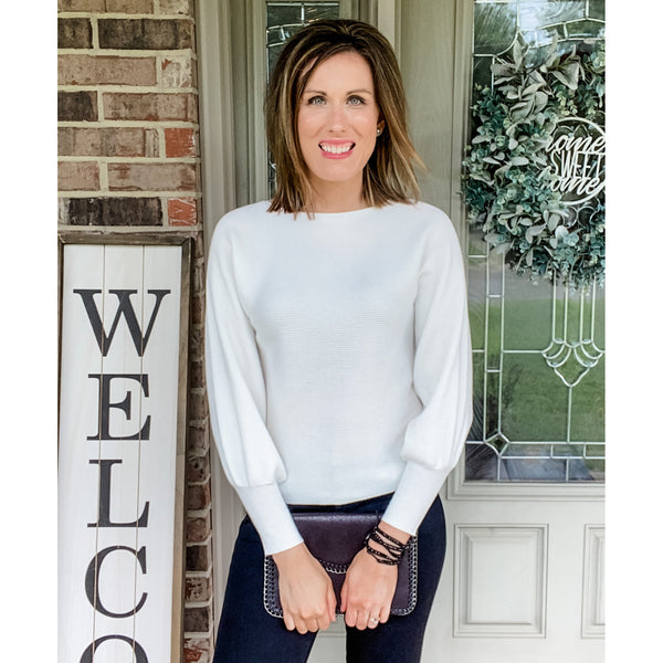 Ivory Ribbed Sweater-Four Sisters Boutique