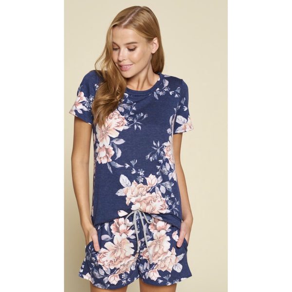 Navy Floral Top-Four Sisters Boutique