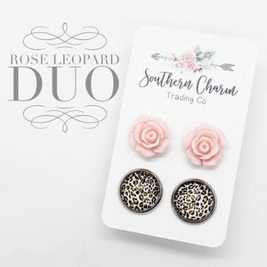 Pink Rose Leopard Earrings Duo-Four Sisters Boutique