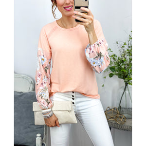 Coral Mixed Media Floral Top-Four Sisters Boutique