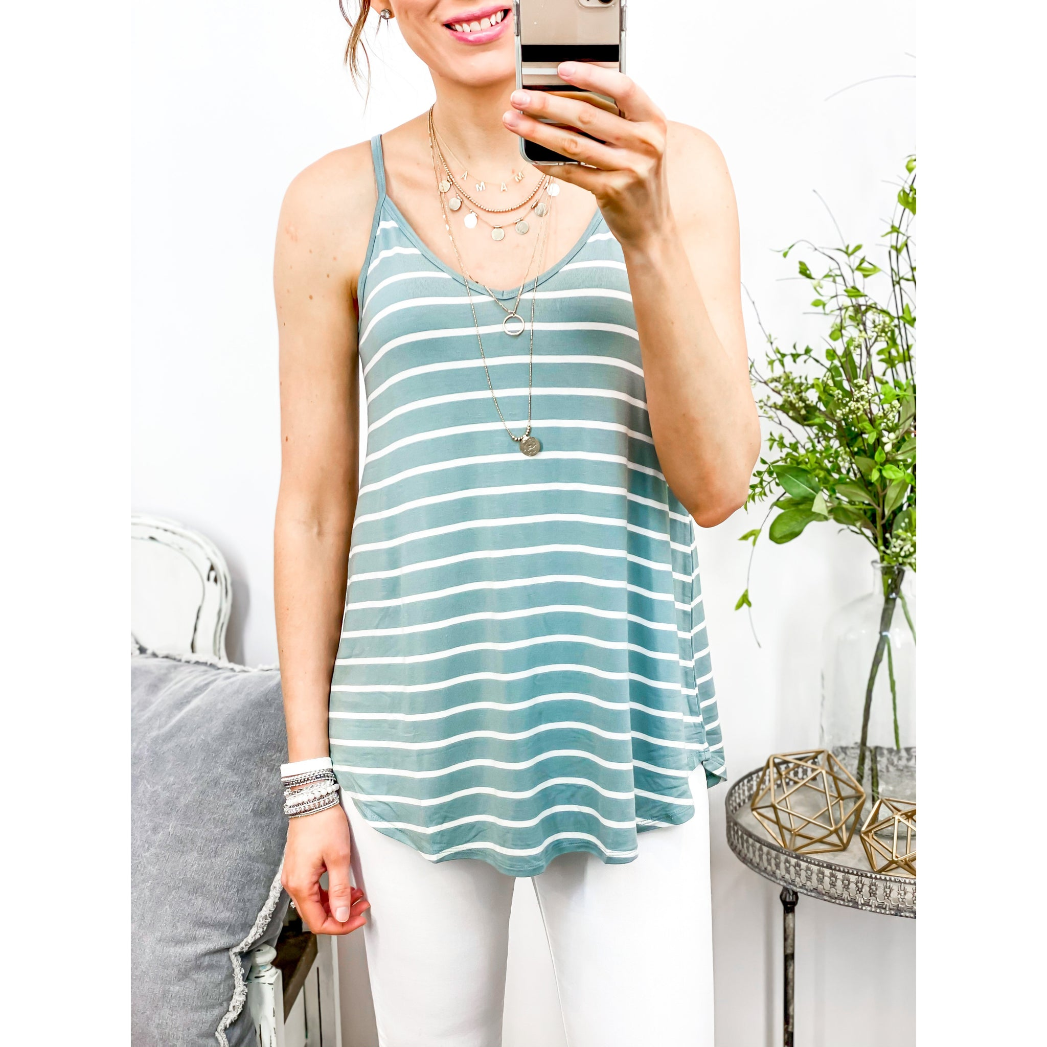 Reversible Tank in Sage Stripe-Four Sisters Boutique