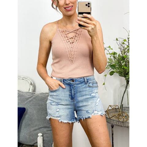 Laced Up Cami Tank in Rose-Four Sisters Boutique