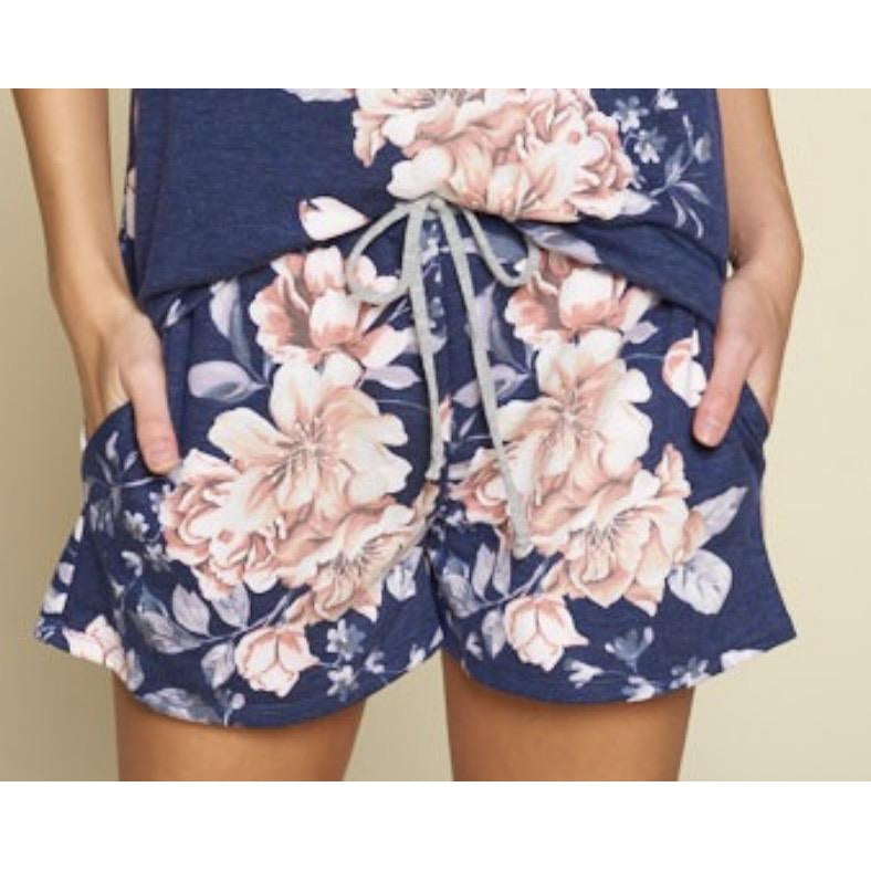 Navy Floral Shorts-Four Sisters Boutique